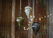 1 Silver Giant Antique Mercury Glass Teardrop Xmas Bauble Zanti Nkuku Very Large