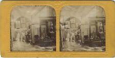 Grand Salon à identifier Stéréo Diorama Stereoview Tissue ca 1865