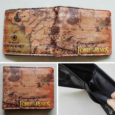 Movie The Lord of the Rings Map Logo wallets Purse Brown 12cm Leather New W206