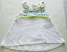 Lucky Brand Girl's Top, White w/lime green & blue accents,  Size 4, NWT