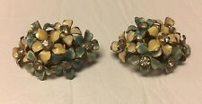 Vintage Sandor Clip Earrings Gold Tone & Enamel Rhinestone Yellow Blue Flowers