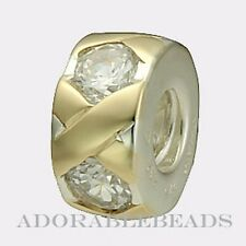 Authentic Chamilia Silver & 14kt Gold XO Clear CZ Bead KD-49