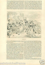 Ichabod Ball dance party Sleepy Hollow Crane Tells Stories GRAVURE PRINT 1856