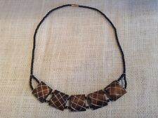 African-Arena Handmade Ethnic Brown Batik Polished Horn Beads Necklace AA355