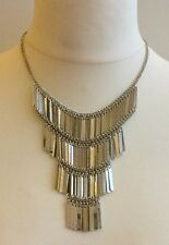 SILVER STATEMENT NECKLACE / FLAPPER STYLE BIB WITH METAL LINKS / VINTAGE STYLE