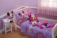 Disney Minnie Mouse Cot Junior Bed 4pc Comforter Sheet Set Baby Toddler Quilt