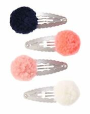 New on Card Gymboree Polar Pink Pom Pom Pink Navy Snap Clips Barrettes Hair