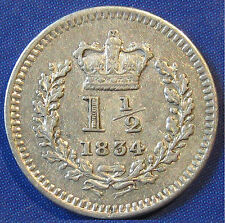 1834 1½d William IV fascinating silver Threehalfpence - lovely grade too