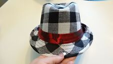 black plaid rock fedora hat boys girls toddler child infant to 6 yrs