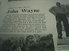 film item 1950 article spend a day with john wayne