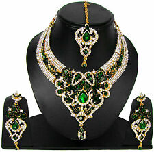 Artificial Jewelry Traditional Chunky Fashion Green Princess Necklace Set