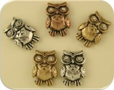 Owl Beads 3T Silver Copper Gold Clear Swarovski Crystal Elements ~ 2 Hole QTY 5
