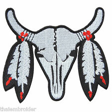 Cow Bison Bull Buffalo Skull Cowboy Indian Western Biker Iron-On Patches #I015
