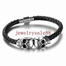 Charm Men Silver/Black Stainless Steel Skull Genuine Leather Bracelet Jewelry 8""
