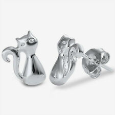 Silver Kitty Cat Stud Earrings Sterling Silver 925 Best Deal Plain Jewelry 10mm