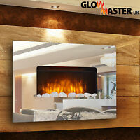 COMPACT WALL MOUNTED ELECTRIC LIVING FLICKER FLAME MIRROR GLASS FIRE FIREPLACE