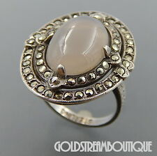 ANTIQUE STERLING SILVER CHALCEDONY MARCASITE OVAL ART DECO RING SIZE 3.75