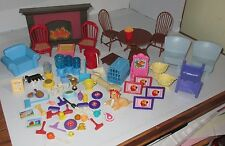 Large Lot Dollhouse Doll House Accessories Furniture Dogs Toys Used 70+ pc Set