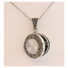 Mother-of-Pearl LOCKET Sterling Silver & Marcazite