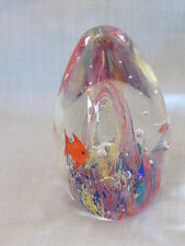 Egg Shaped Acrylic Gold Fish Fancy Underwater Scene Paperweight, Heavy