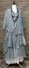 LAGENLOOK*KEKOO*AMAZING LAYERING QUIRKY 2 PCS DRESS+JACKET*PASTEL GREY*Sz 42-44