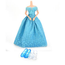 1 Pcs Princess Gown Dress 2 Pairs Blue White Crystal Shoes for Barbies Dolls CL