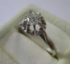 Bague solitaire ancienne - Diamant 0,28 carat - Gold ring or blanc 18 carats 750