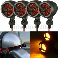 4x Motorcycle Black Metal LED Turn Signal Indicator Light For Harley Cafe Racer