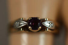 18K SOLID YELLOW GOLD WHITE GOLD AMETHYST DIAMOND ART DECO RING 18KT SZ 6 3.30G