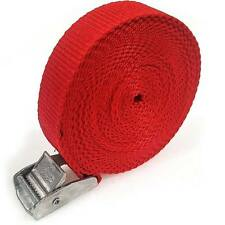 8 Buckled Straps 25mm Cam Buckle 5 meters Long Heavy Duty Load Securing Red