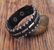 G173 Black Rock Cool Leather Wraps Metal Parts Men's Bracelet Cuff  NEW