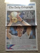 The Daily Telegraph newspaper. 8th July 2013. Andy Murray wimbledon. complete