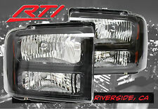 99-04 Ford F250 F350 Super Duty Excursion Upgrade Black Housing Headlights Amber