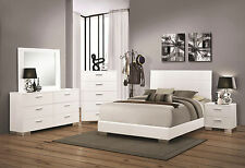 MARTHA - Ultra Modern 5pcs Glossy White King Platform Bedroom Set New Furniture