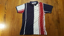 Chaps Ralph Lauren Striped Polo Shirt LARGE red white blue Spell Out US flag VTG