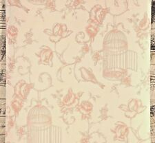 Traditional Floral French Cottage Chic Coral Pink Bird Cage Flower Wallpaper Diy