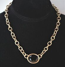 Vintage Yves Saint Laurent Choker Necklace ~ Chain w/Center Faceted Glass Stone