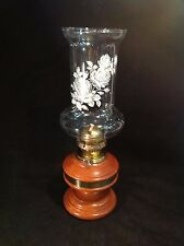 """Vintage Wooden Oil Lamp with White Floral Print Glass Chimney Shade 12"""" Tall"""