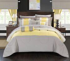 20 Piece Comforter Set Bed in a Bag Queen Size Bed Bedding Bedroom Yellow Grey