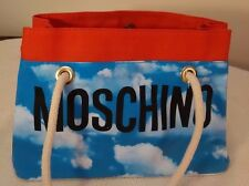MOSCHINO - Red and Light Blue Clouds Canvas Tote/Handbag