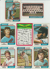 Vintage 1974 Topps TWINS 24 cards partial team set HOF BLYLEVEN Darwin Campbell