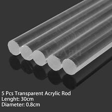 """5pcs Transparent Clear Acrylic Round Rod Tube Solid Bar 8mm Dia 300mm (12"""") Long"""