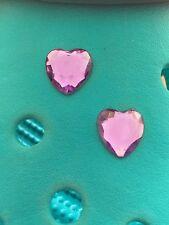 2 Lavender Gem Heart Shoe Charms For Crocs & Jibbitz Wristbands. Free UK P&P.
