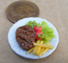 1:12 Large Hand Made Steak & Chips On 3.5cm Ceramic Plate Dolls House Miniature