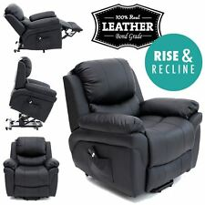 MADISON BLACK ELECRTIC RISE RECLINER REAL LEATHER ARMCHAIR SOFA LOUNGE CHAIR