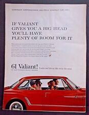61 Valiant Car Big Head ART Vintage Life Magazine Ad 1961