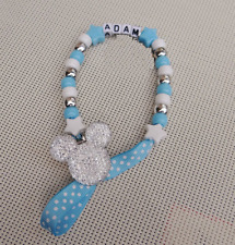 Personalised Stunning Baby Blue Dummy Clip holder For Pram Car Seat Ideal Gift