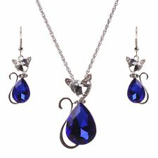 Women Blue Rhinestone Crystal Cat Pendant Charm Necklace Earrings Set