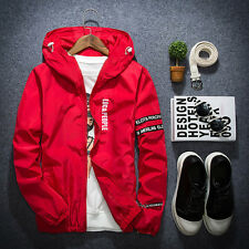 New Men's letter thin zipper jacket Hooded Casual Sportswear coat Windbreaker