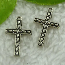 Free Ship 240 pieces tibet silver cross charms 25x15mm #2004